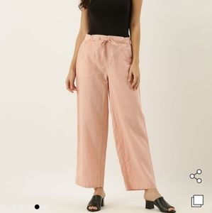 Ann Taylor Loft Linen Cotton Wide Leg Pants Peach